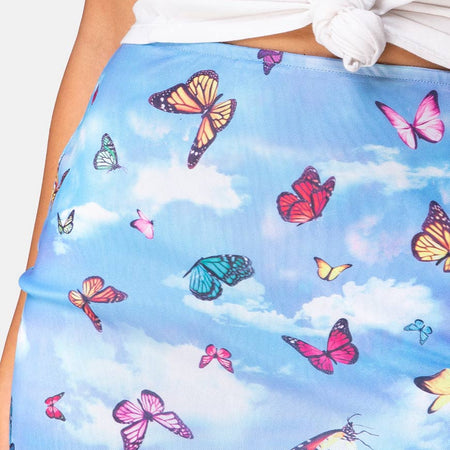 Kinnie Mini Skirt in Mesh Blue Butterfly by Motel