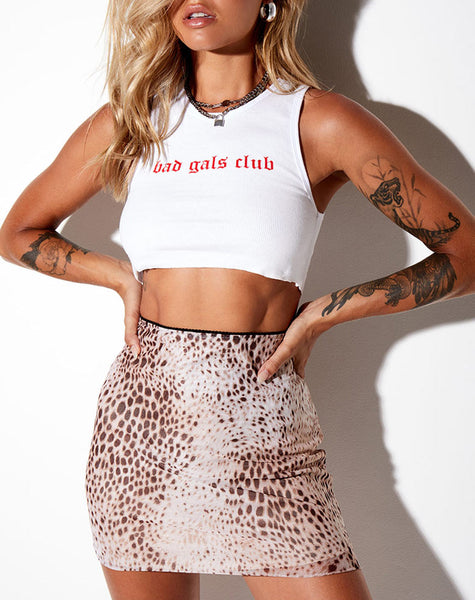 Kinnie Mini Skirt in Mesh Sand Leopard