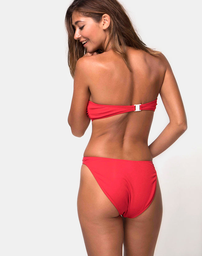 Knot Bandeau Bikini Top in Baewatch Red by Motel