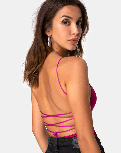 Koza Bodice in Satin Magenta by Motel