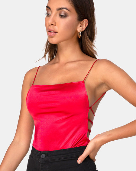 Solemo Bodice in Mini Stripe Red and Black by Motel