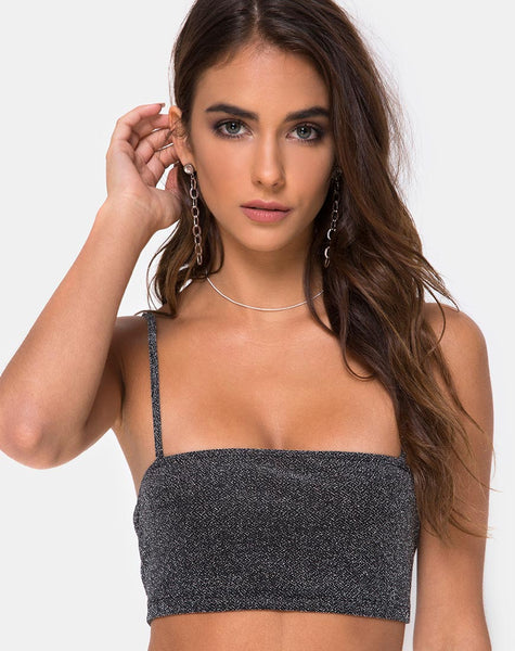 Kozina Crop Top in Silver Glitter by Motel