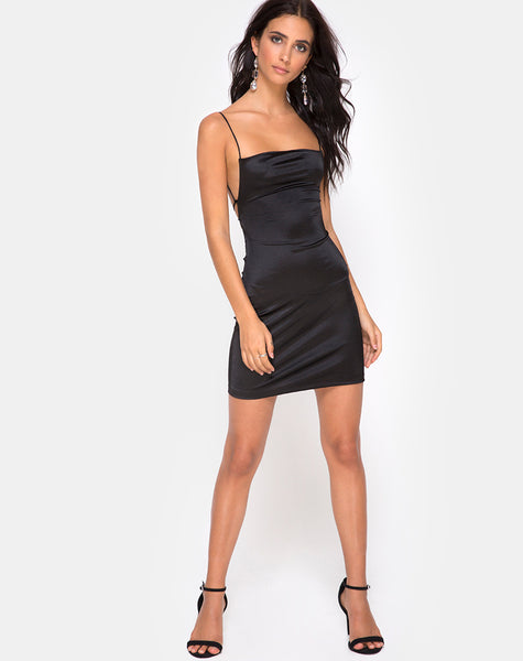 Kozue Mini Dress in Satin Black