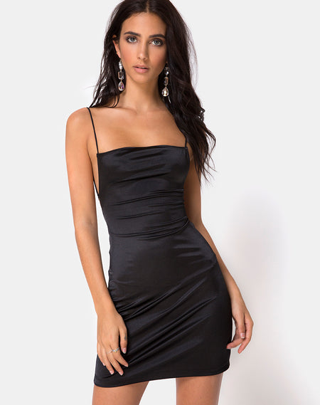 Selah Dress in Satin Black with Lime Lace by Motel