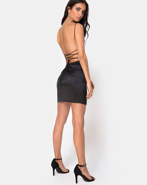 Kozue Mini Dress in Satin Black By Motel