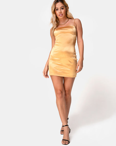 Kozue Dress in Warm Gold by Motel