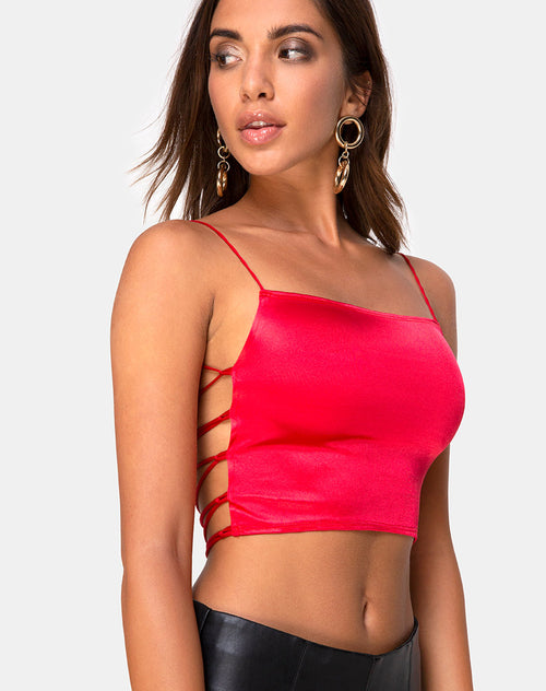 Ozka Crop Top in Satin Red by Motel