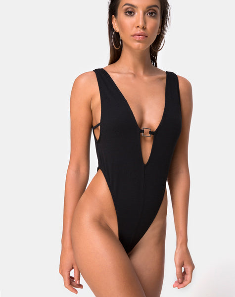 Kristie Swimsuit in Black Mini Rib by Motel