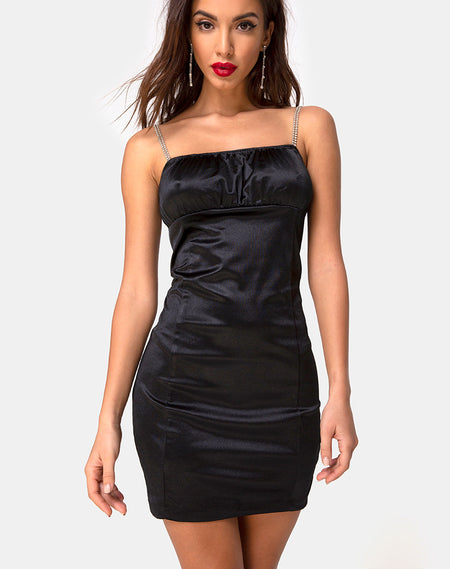 Ronina Dress in Heavy Satin Black by Motel
