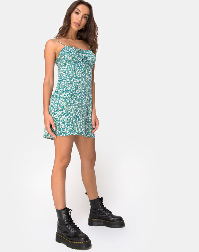 Kumala Slip Dress in Floral Field Green
