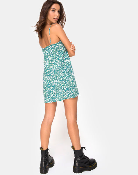Kumala Slip Dress in Floral Field Green by Motel