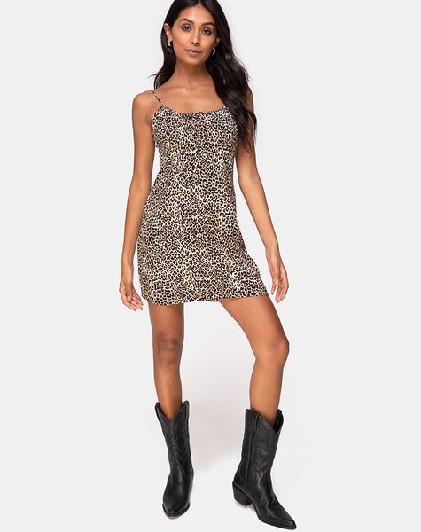 Kumala Slip Dress in Rar Leopard Brown by Motel