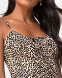 Kumala Slip Dress in Rar Leopard Brown