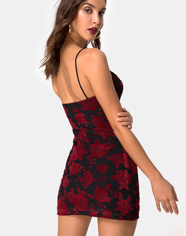Kumin Bodycon Dress in Romantic Red Rose Flock by Motel