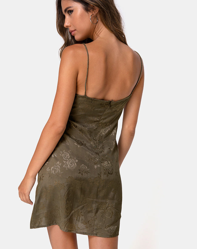 Kumala Slip Dress in Satin Rose Silver Grey by Motel