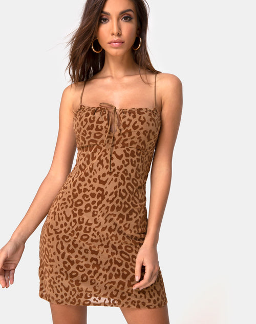 Kumin Dress in Animal Flock Tan Brown by Motel