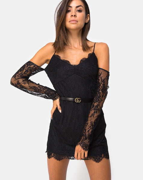 Kusakina Dress in Lace Black by Motel