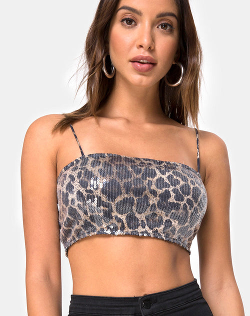 Kylie Crop Top in Leopard Clear Sequin by Motel