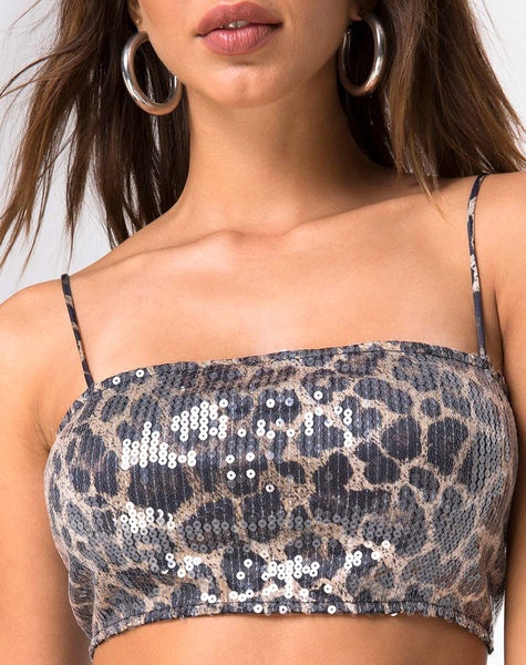 Kylie Crop Top in Leopard Clear Sequin