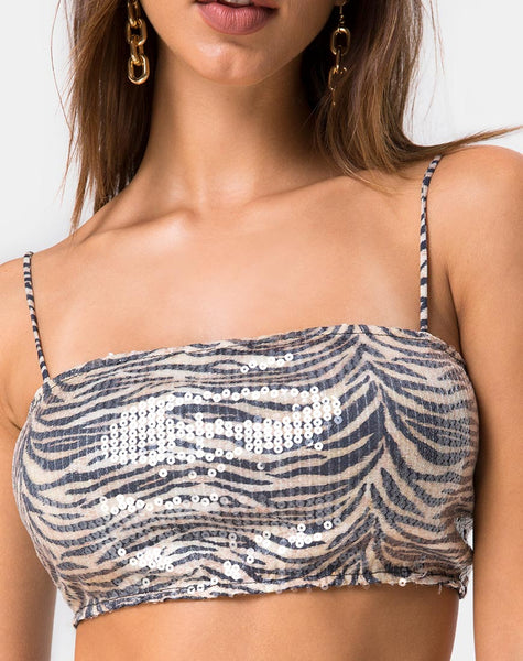 Kylie Crop Top in Tiger with Clear Sequin by Motel