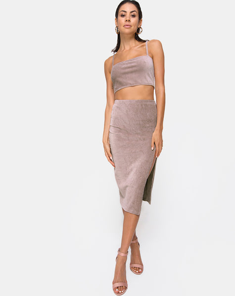 Kylie Crop Top in Rib Taupe by Motel