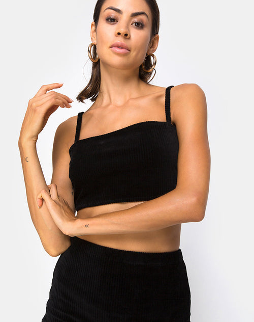 Kylie Top in Velvet Rib Black By Motel