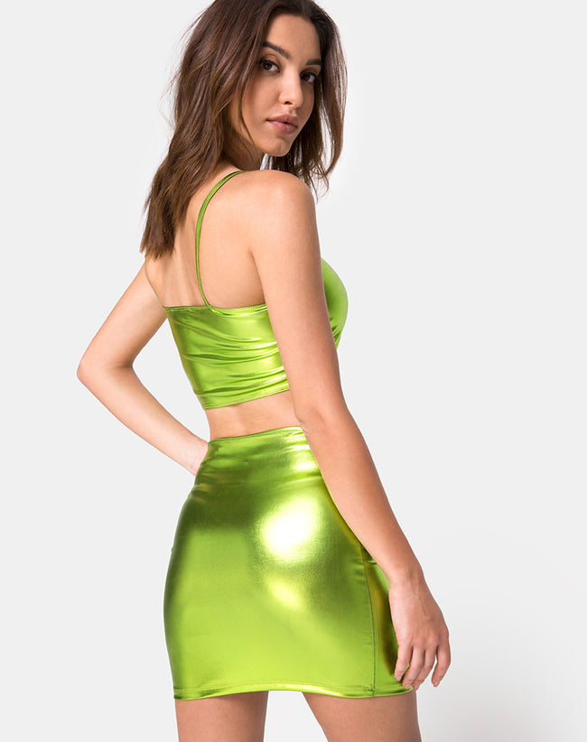 Kylie Top in Metallic Green by Motel