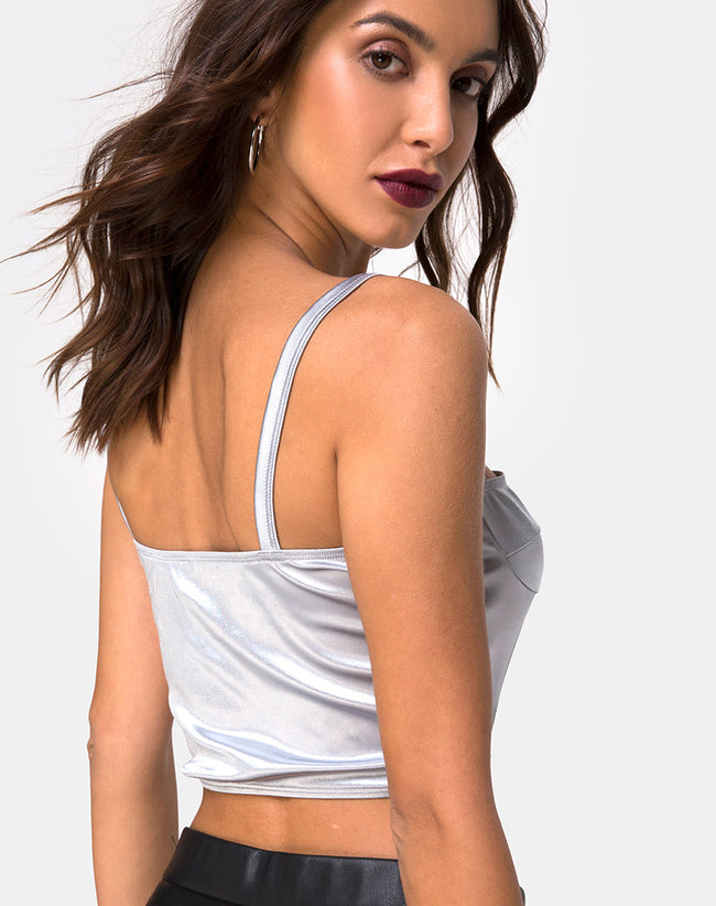 Kynette Crop in Satin Ice Silver by Motel
