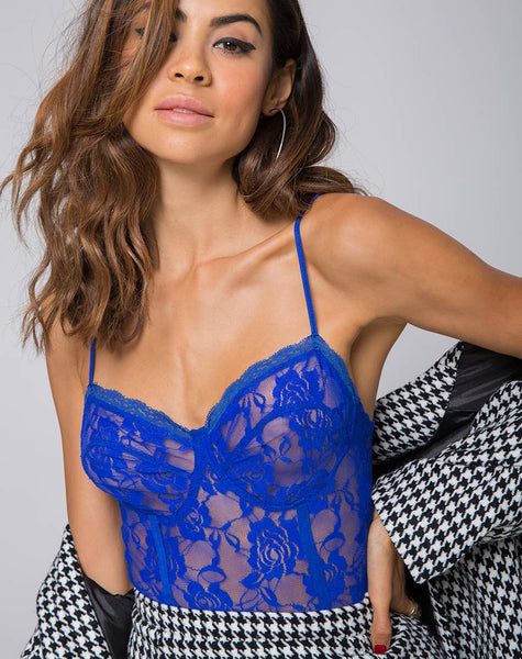 Lacey Bodice in Rose Ribbon Lace Cobalt by Motel