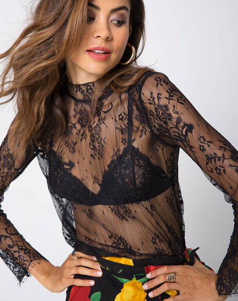 Lahela High Neck Top in Floral Eyelash Lace Black by Motel