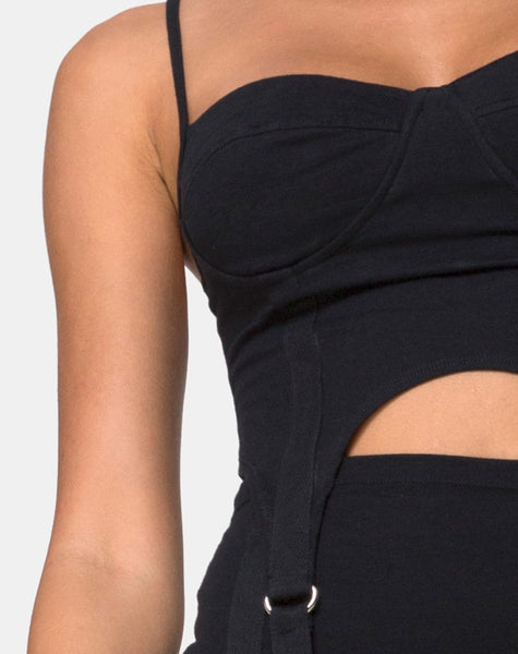 Laing Crop Top in Lycra Black by Motel