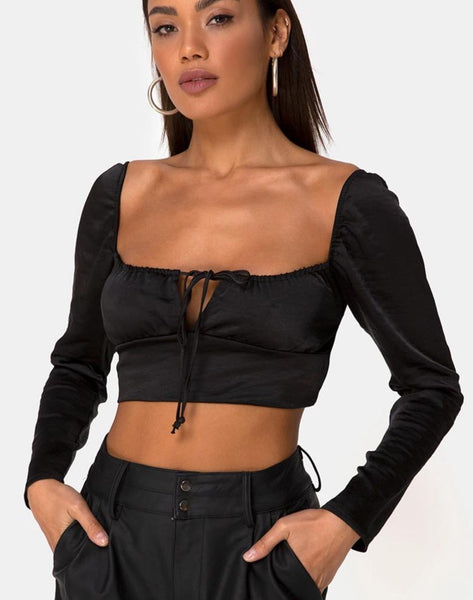 Laman Crop Top in Satin Black by Motel