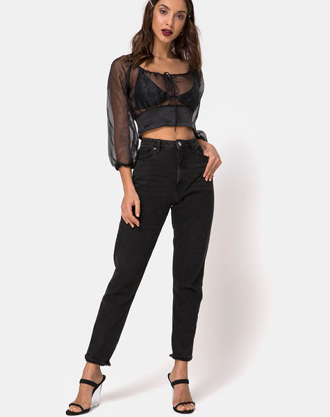 Lancelle Top in Satin Black by Motel