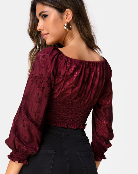 Lancer Crop Top in Satin Rose Burgundy by Motel