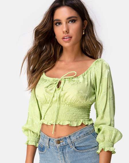 Bilen Top in Floral Field Green by Motel