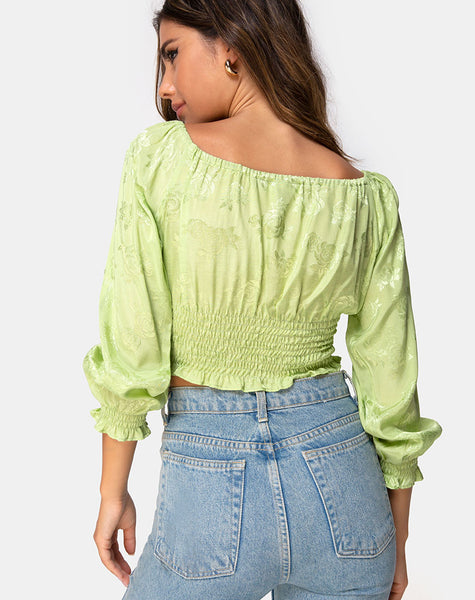 Lancer Crop Top in Satin Rose Lime