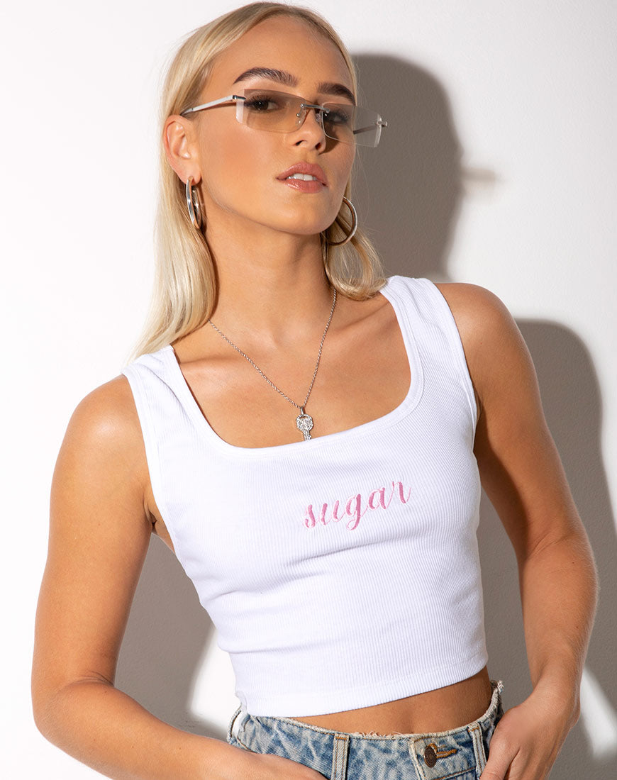 Landa Crop Top White ''Sugar'' Embro in Soft Pink by Motel 9