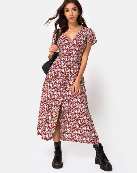 Larin Midi Dress in Floral Charm Red by Motel