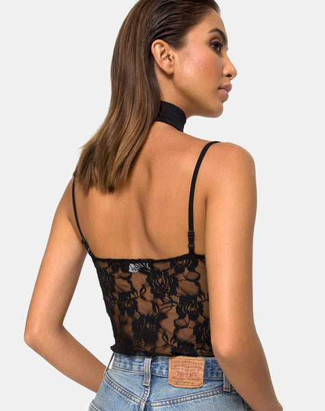 Lanti Bodice in Black Rose Lace by Motel