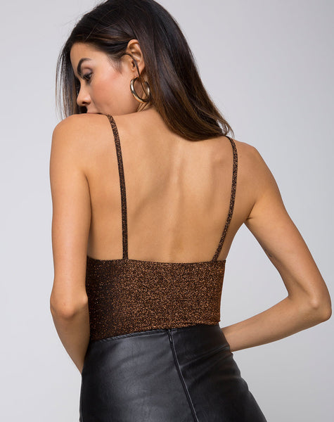 Lanti Bodice in Glitter Lurex Bronze by Motel