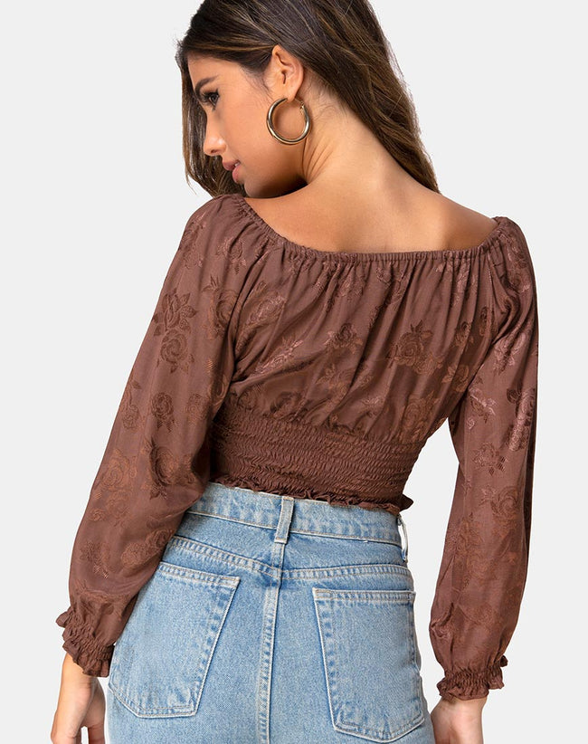 Lancer Crop Top in Satin Rose Chocolate by Motel