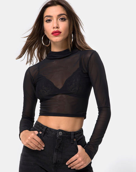 Bonnie Crop Top Net in Taupe Snake by Motel