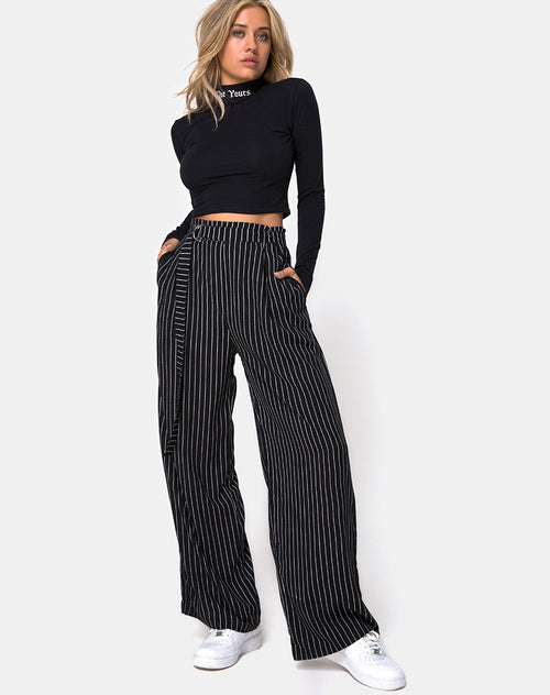 Majustie Trouser in Pinstripe Black By Motel