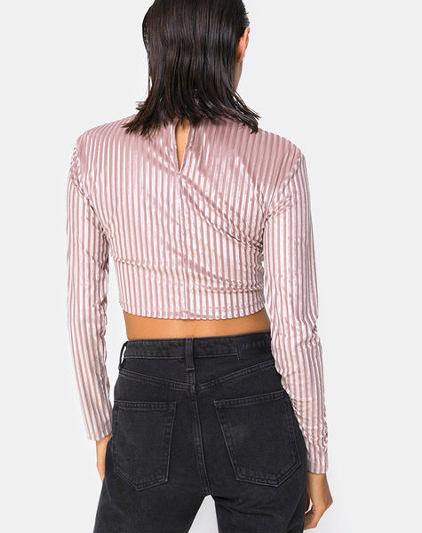 Lara Crop Top in Taupe by Motel