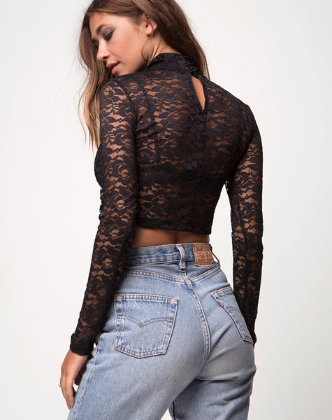 Lara Crop Top in Rose Lace Black