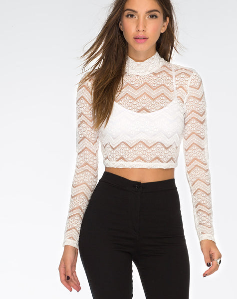 Lara Crop Top in Chevron Lace Ivory