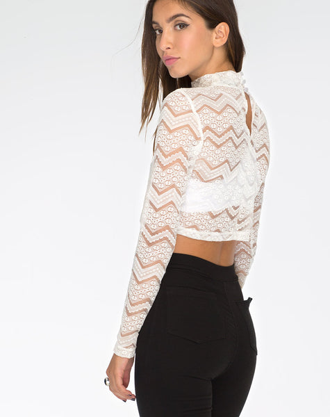 Lara Crop Top in Chevron Lace Ivory by Motel