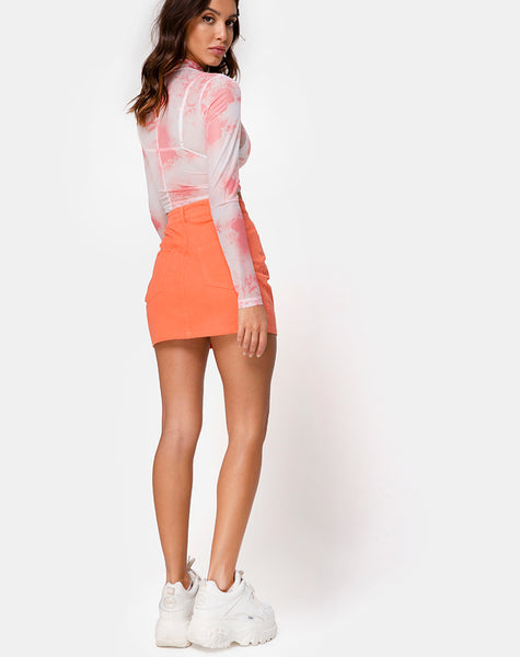 Lara Net Crop Top in Pink Tye Dye by Motel