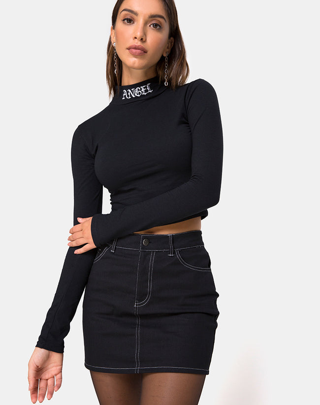 Lara Crop in Black with Angel Embro