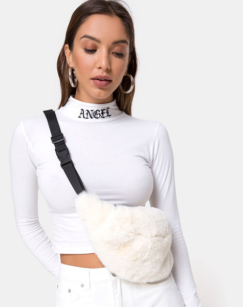 Lara Crop in White with Angel Embro by Motel